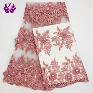 Latest soft tulle lace fabric African beaded 3d flower lace embroidered fabric
