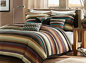 Southwest Turquoise Native American Full / Queen Quilt, Shams & Toss Pillows (6 Piece Bed In A Bag)