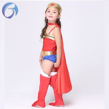 Super Hero Girl Kids Halloween Costume Child Wonder Women Costume