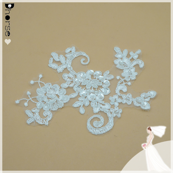 Pure white/off white color available lace applique sequins beaded embroidery cord applique for wedding dress/hair accessories