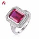 Top quality 925 silver created ruby gemstone jewelry single stone ring designs