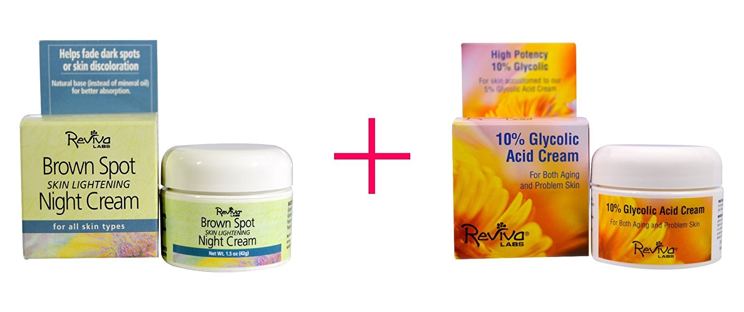 Reviva Labs, Brown Spot Skin Lightening Night Cream, 1.5 oz AND Reviva Labs, 10% Glycolic Acid Cream, 1.5 oz - BUNDLE