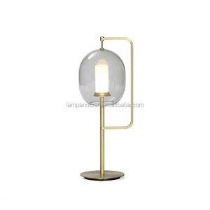 Hotel bedside Streamline Simple Metal Glass Sphere Table Lamp Italy Design For Hotel