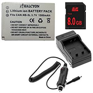 NB5L Lithium Ion Replacement Battery w/Charger + 8GB SDHC Memory Card for Canon PowerShot S100, SD700 IS, SD790 IS, SD800 IS, SD850 IS, SD870 IS, SD880 IS, SD890 IS, SD900, SD950 IS, SD970 IS, SD990 IS, SX200 HS, SX210, SX220 HS, SX230 HS Digital Cameras