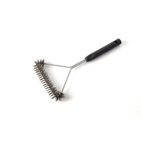 Short Handle Steel Bristle Barbecue Cleaning Brush, 100% Rust Resistant Stainless Steel Barbecue Brush