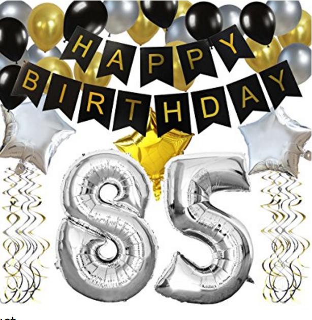 85TH Birthday Party Decorations Kit Black Happy Banner Silver 85 Mylar Foil Balloon Star Latex Hanging Swirls
