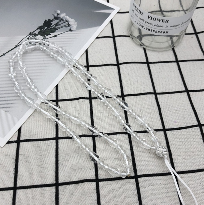 fashion cute neck drop crystal beads pure handmade 90CM Long  lanyard strap string cell smartphone case necklace