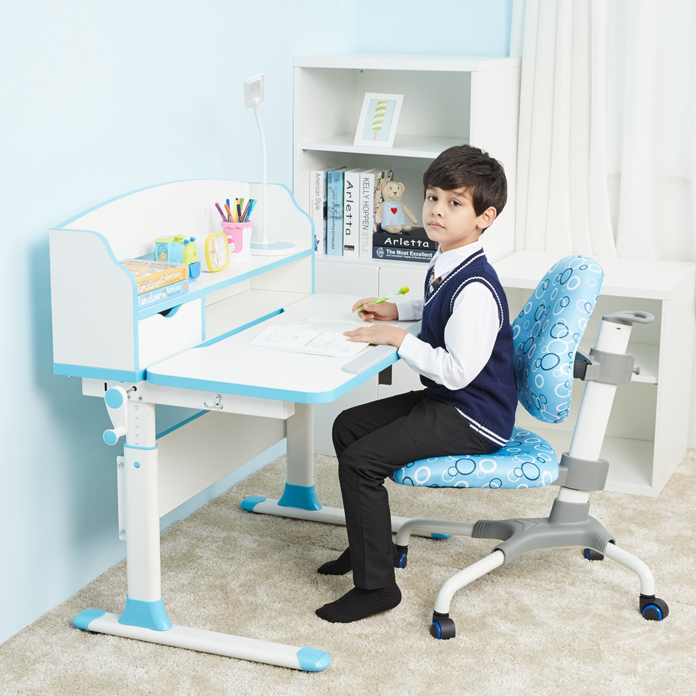 Anti-slip Kids Study Adjustable Desk With Storage For Kids Learning Table