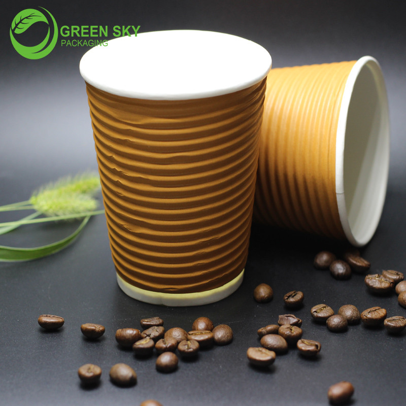 Wuhan factory logo printed ripple wall paper cup