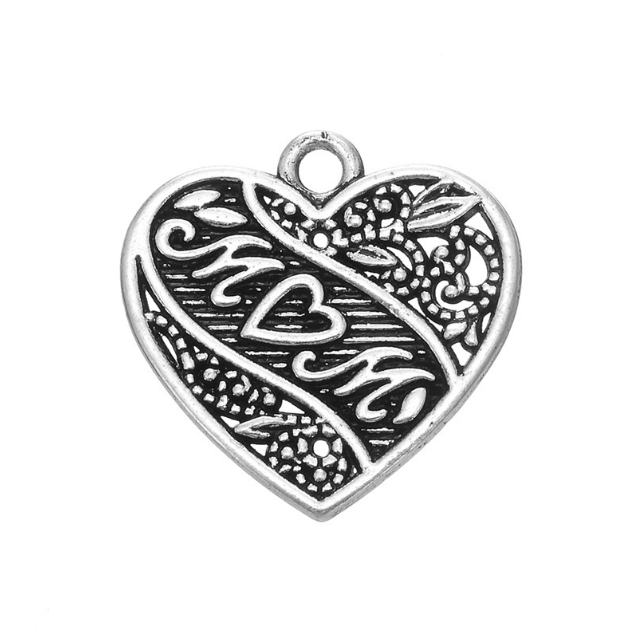 custom DIY Cheap pendant hollow out jewelry charms metal zinc alloy antique silver heart mom charms for bracelet making