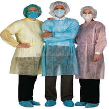 SPP nonwoven isolation dressing gown with long sleeves