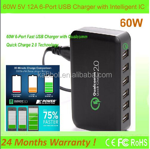 Quick Charge 2.0 CHOE 60W 6 Port Intelligent Multi USB Quick Charger Adaptive Fast Turbo Charger with Auto Detect Technology