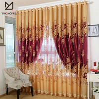 On Sale ! Luxury curtains for Living / Bedroom European style Blackout + Luxury tulle curtain Hotel Beaded
