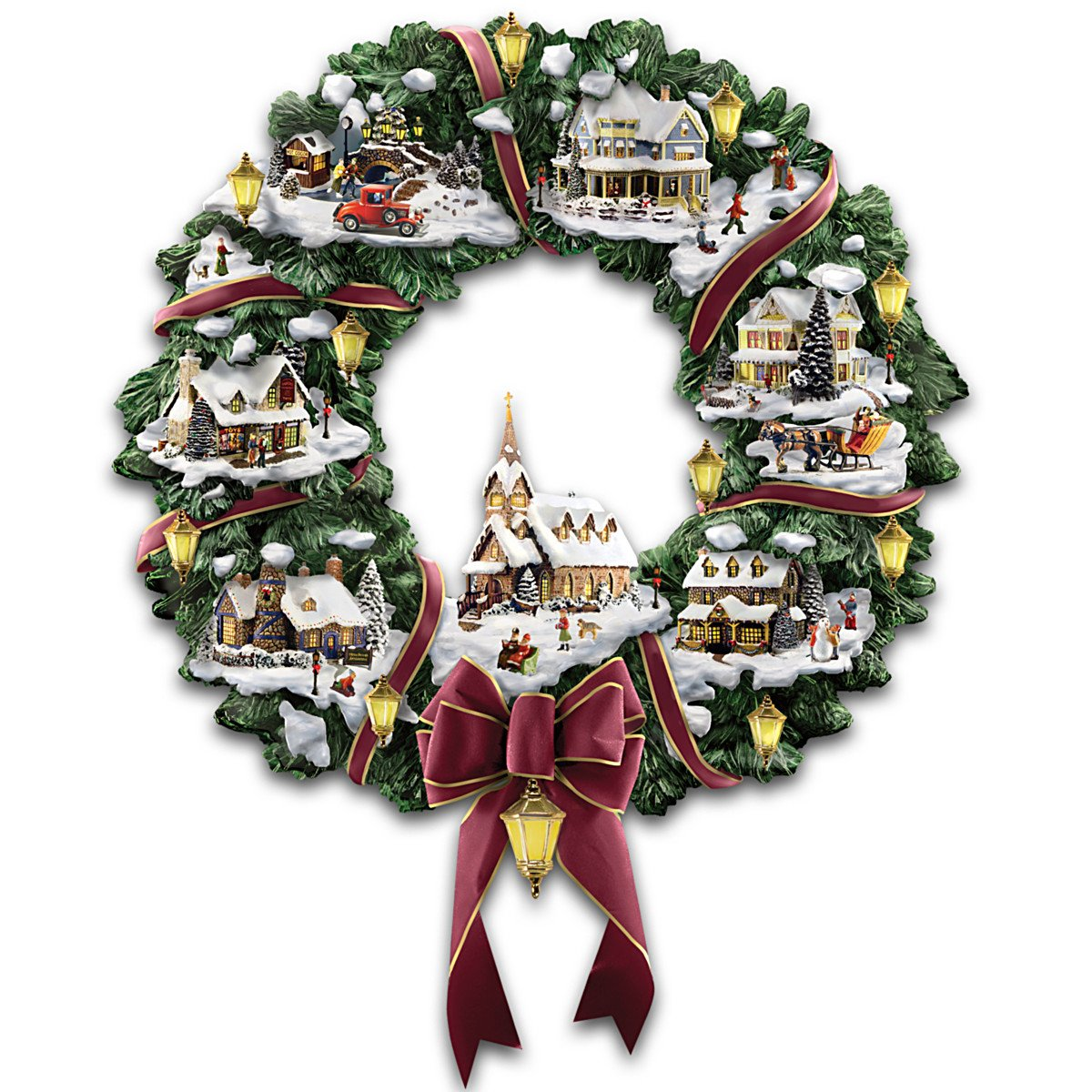 Buy Thomas Kinkade Village Christmas Artificial Tabletop Christmas ...