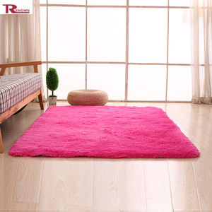shaggy carpet yarn 100% polyester rose red floor carpets for living room
