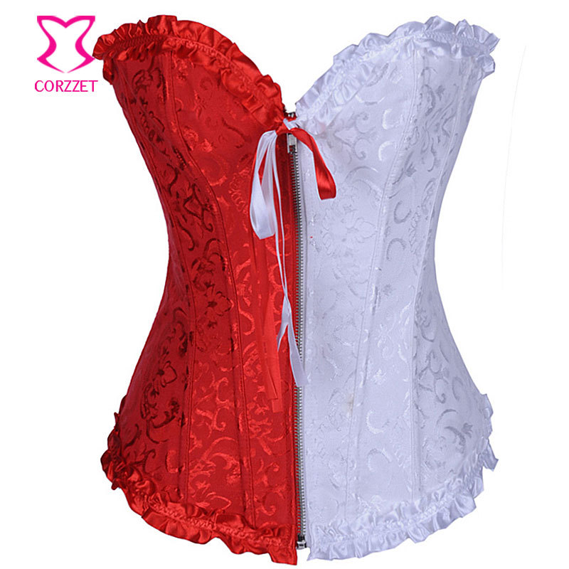138022fa513 Get Quotations · Red   White Corset Tight Lacing Gothic Corsetto Waist  Training Corsets and Bustiers Burlesque Corpetes E
