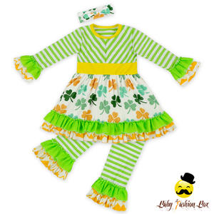 66TQZ480 Yiwu Yihong St Patrick's Day Long Sleeve Printed Pattern Smocking Long Pants Rabbit Ear Headband Infant Outfits For Kid