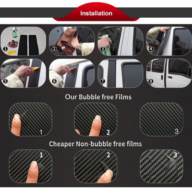 Hot Selling 1.52*28m Gold Carbon Fiber 3D Wrapping Film with Air Release Bubble