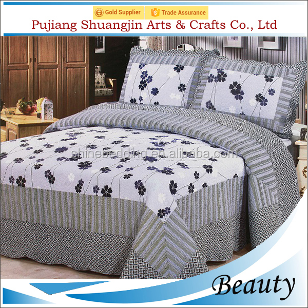 70gsm microfiber fabric 200gsm cotton filling patchwork stitched antique quilt with pillowcases
