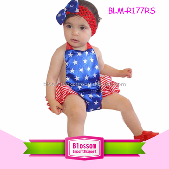 db1f23284485 Bule Star  Red Stripes 4th of July Patriotic Baby Girls Bubble Romper For Fourth  July Baby