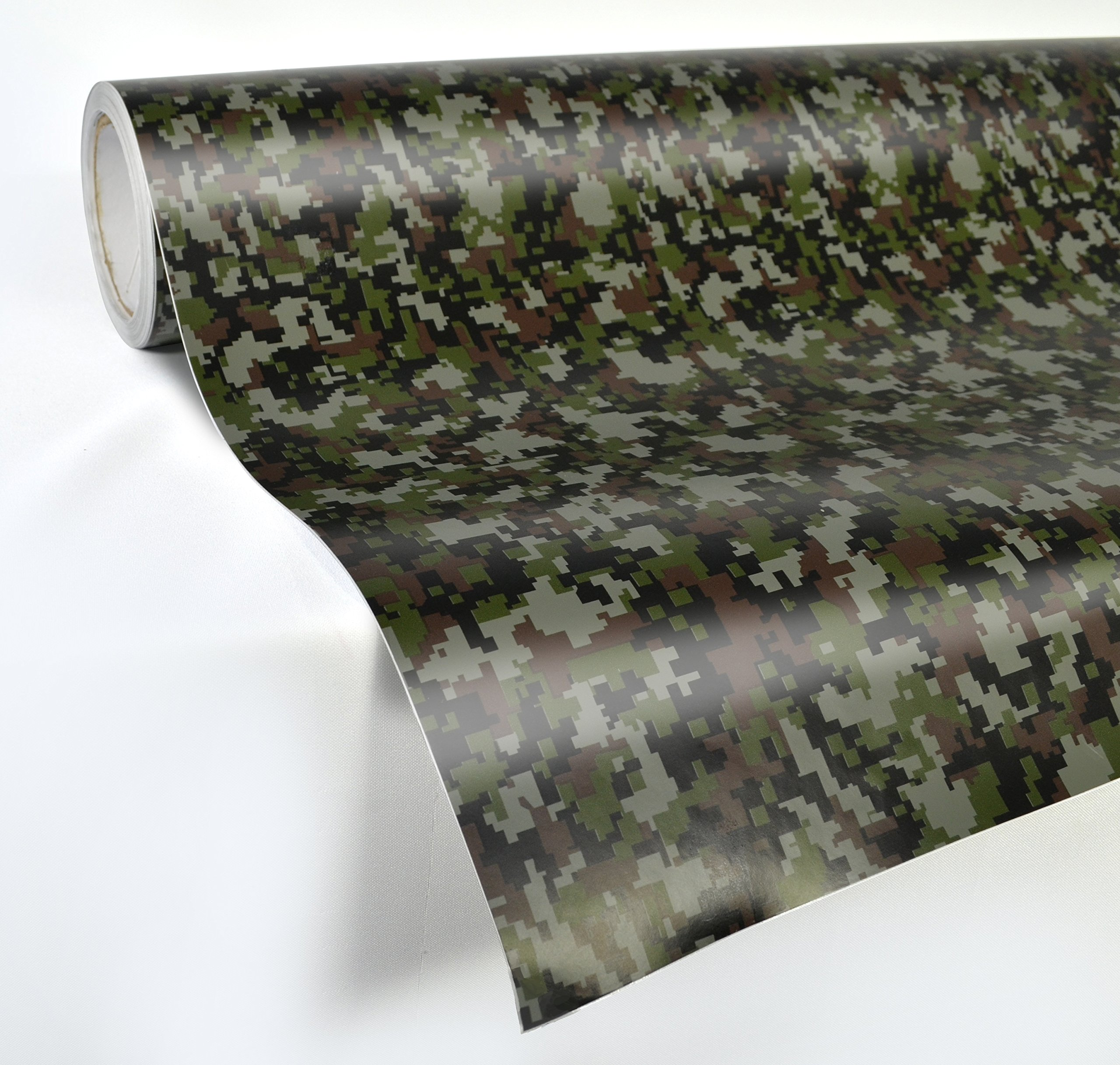 3ft x 5ft, Woodland Camo VViViD Vinyl Camouflage Pattern Wrap Air-Release Adhesive Film Sheets