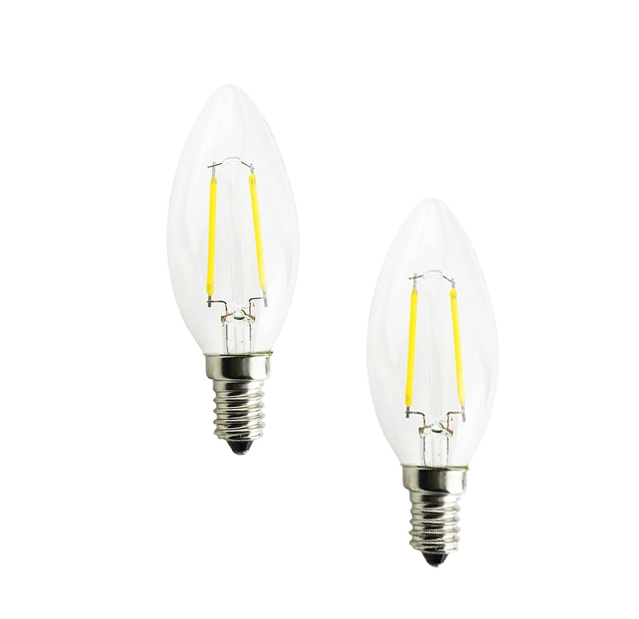 Lamsky 2-Watt E14 European Screw Base LED Filament Candle Shape Light Bulb Clear Glass C35 Shape Bullet Top,Warm White 2700K 15-Watt Incandescent Equivalent, No-Dimmable (2-Pack)