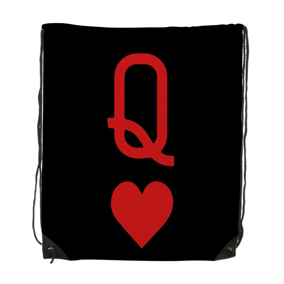 2dc7529804 Get Quotations · Queen Of Hearts Playing Card Logo Unisex Gym Drawstring  Shoulder Bag Backpack Travel Bag Bags Backpack