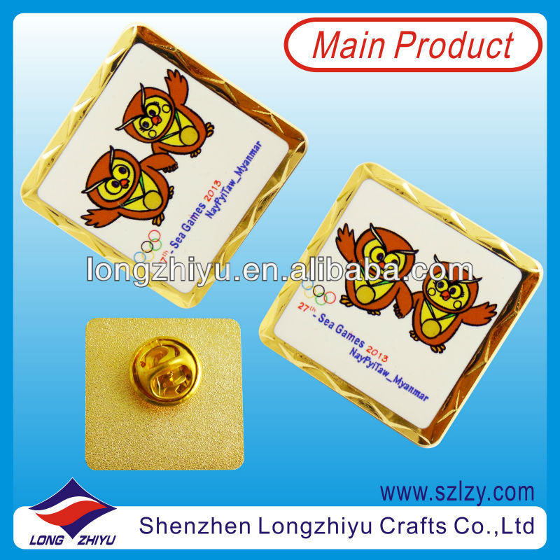 Unique Design Sport Meeting Pins Metal Printing Sports Badges And Patches With 23K Gold Plating Lapel Pin