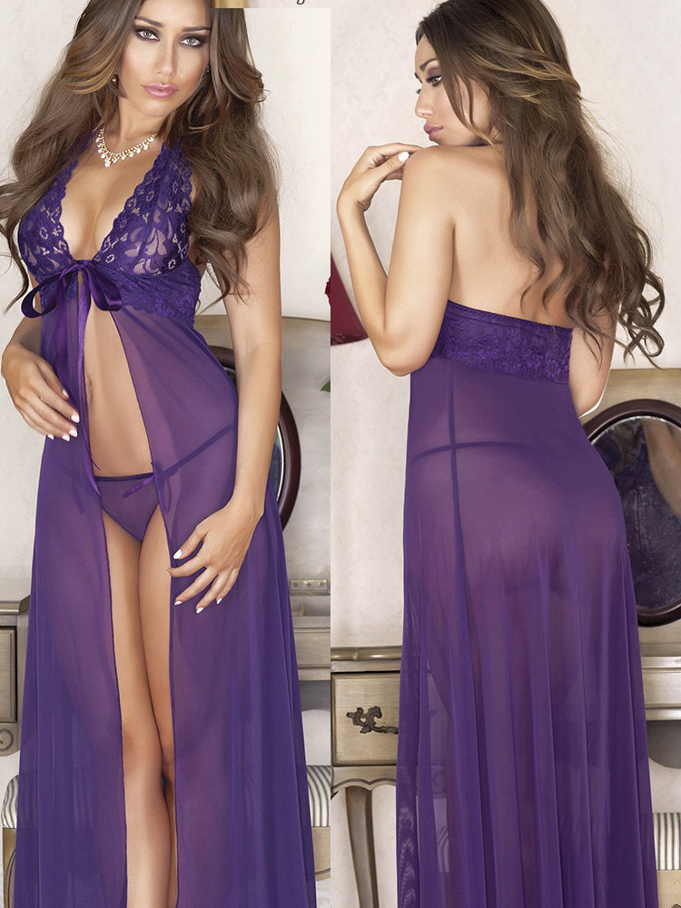 2641111ff585 Robe Sexy Women Mesh Transparent Sexy Lingerie Lace Halter Underwear Purple  Babydoll Long Nightdress Thongs G-string Lingerie - Buy Nightgown