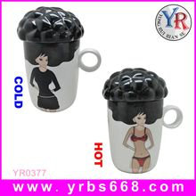 2014 wholesale promotable product color-changing drinkware ceramic 3 handle mug