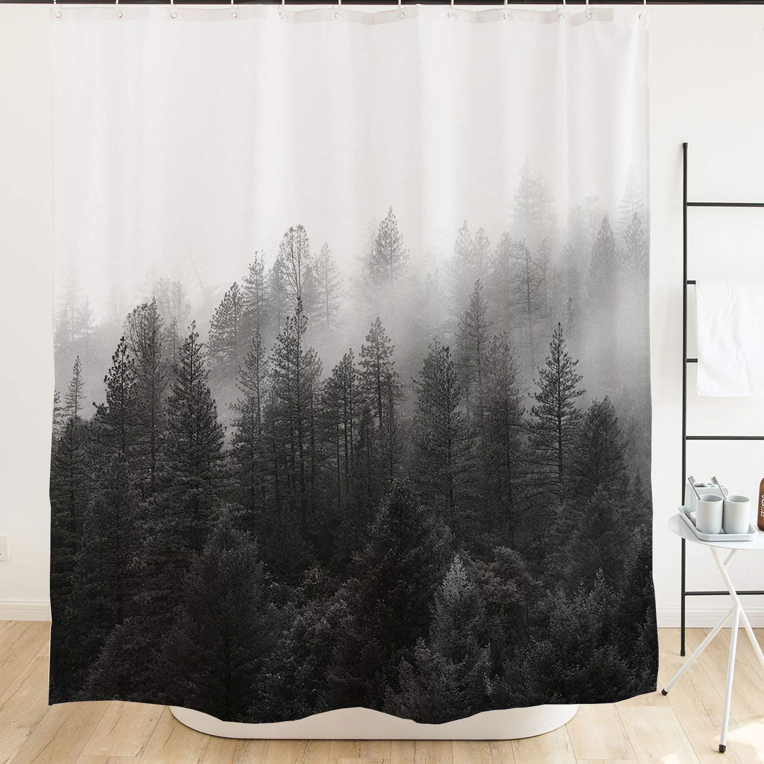 Orange Design Foggy Forest Shower Curtain Black And White Misty Trees National Park Mountain Cloud