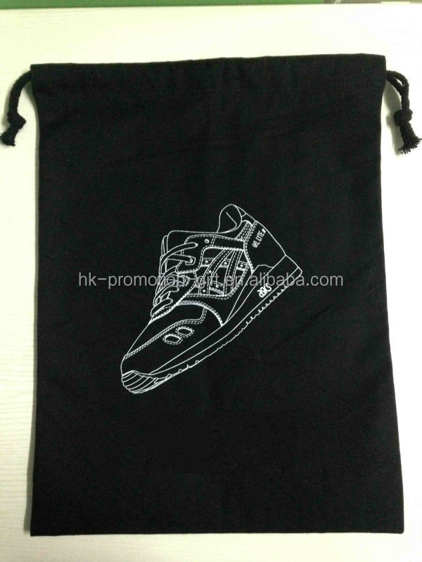 cotton fabric drawstring shoe bag, cheap shoe bag, high quality shoe bag with personalised design accepted