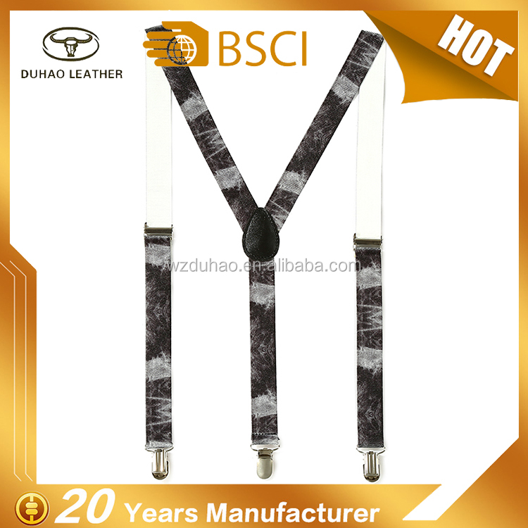 Custom Children's Printed Polyester Suspenders With Pu Leather Tip