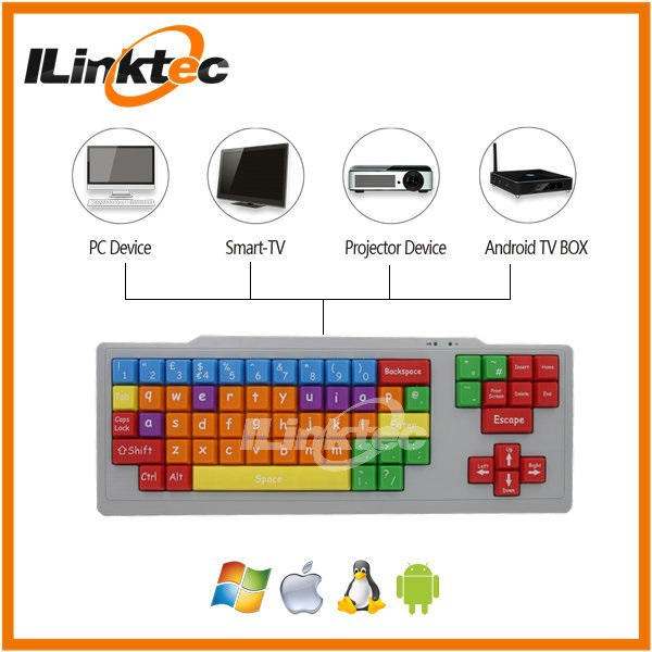 Children keyboard with colorful keys, PS/2 or USB type keyboard with big letter keys for early teaching