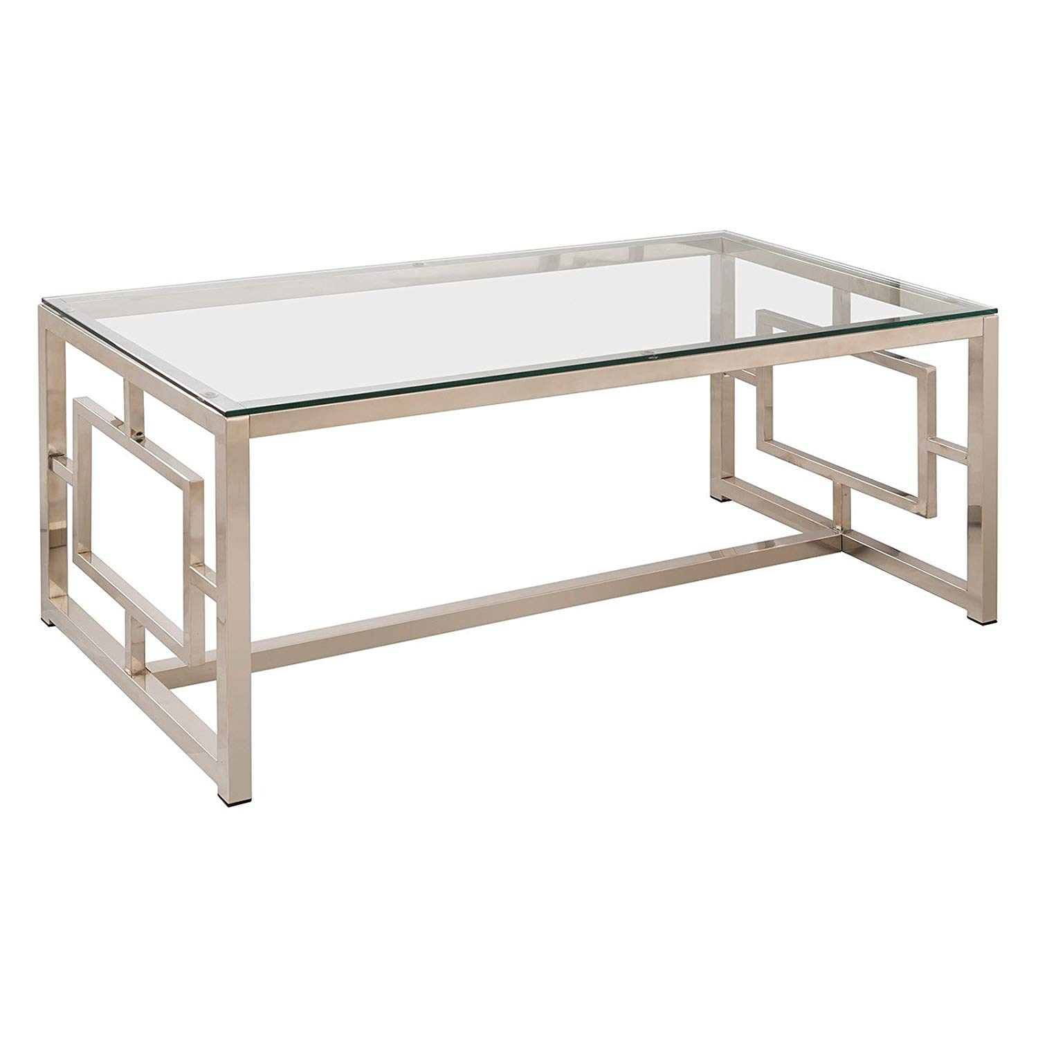 Contemporary Coffee Table, Nickel Finish, Living Room Furniture, Tempered Glass Top, Glass, Metal, Rectangle Shape, Bundle with Our Expert Guide with Tips for Home Arrangement