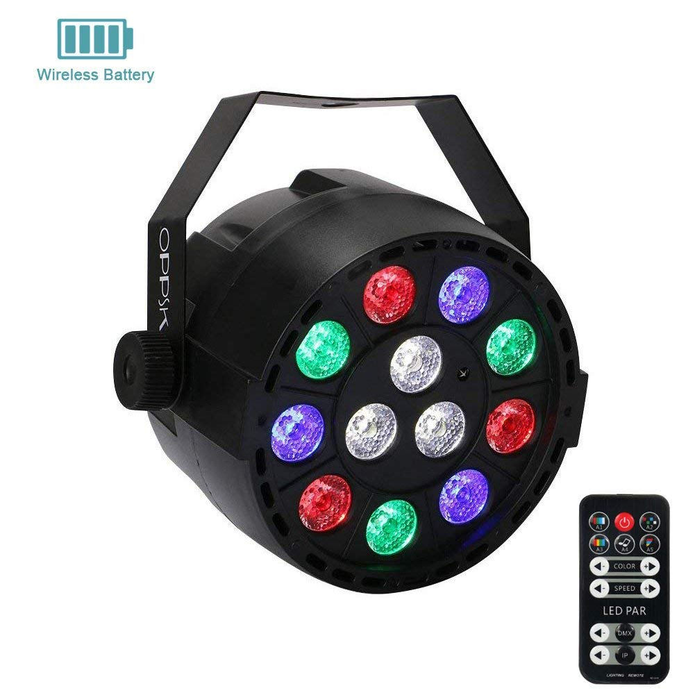 Wireless Battery 12 LED Par Light for Stage Lighting, OPPSK LED Par RGBW Wash Light by Remote DMX Control for Wedding Church DJ Lights Party