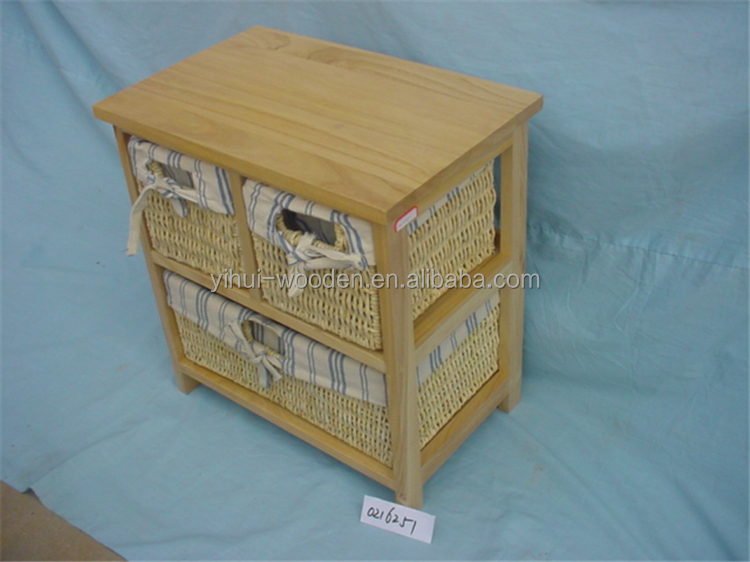 Wooden Storage Cabinet With Wicker Work Willow Drawer