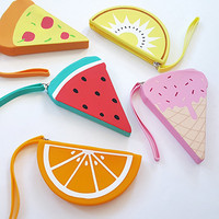 Hot Selling Druable Silicone Mini Coin Purse Cute Silicone 3D fruitCoin Pencil Case Holder Coin Purse Bag Wallet