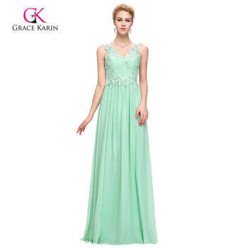 Grace Karin Sleeveless V-Neck Backless Chiffon Aquamarine Prom Dress GK000091-1
