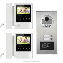 "Alibaba best multi apartment video door phone price video intercom 2 monitors 4.3"" inch RFID card intercom system"