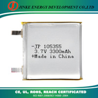 External battery 3.7v rechargeable 3300mah 875355 li-ion battery industrial battery