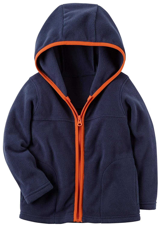 a382e573 Get Quotations · Carter's Boys Fleece Zip-Up Hoodie; Navy With Orange Trim