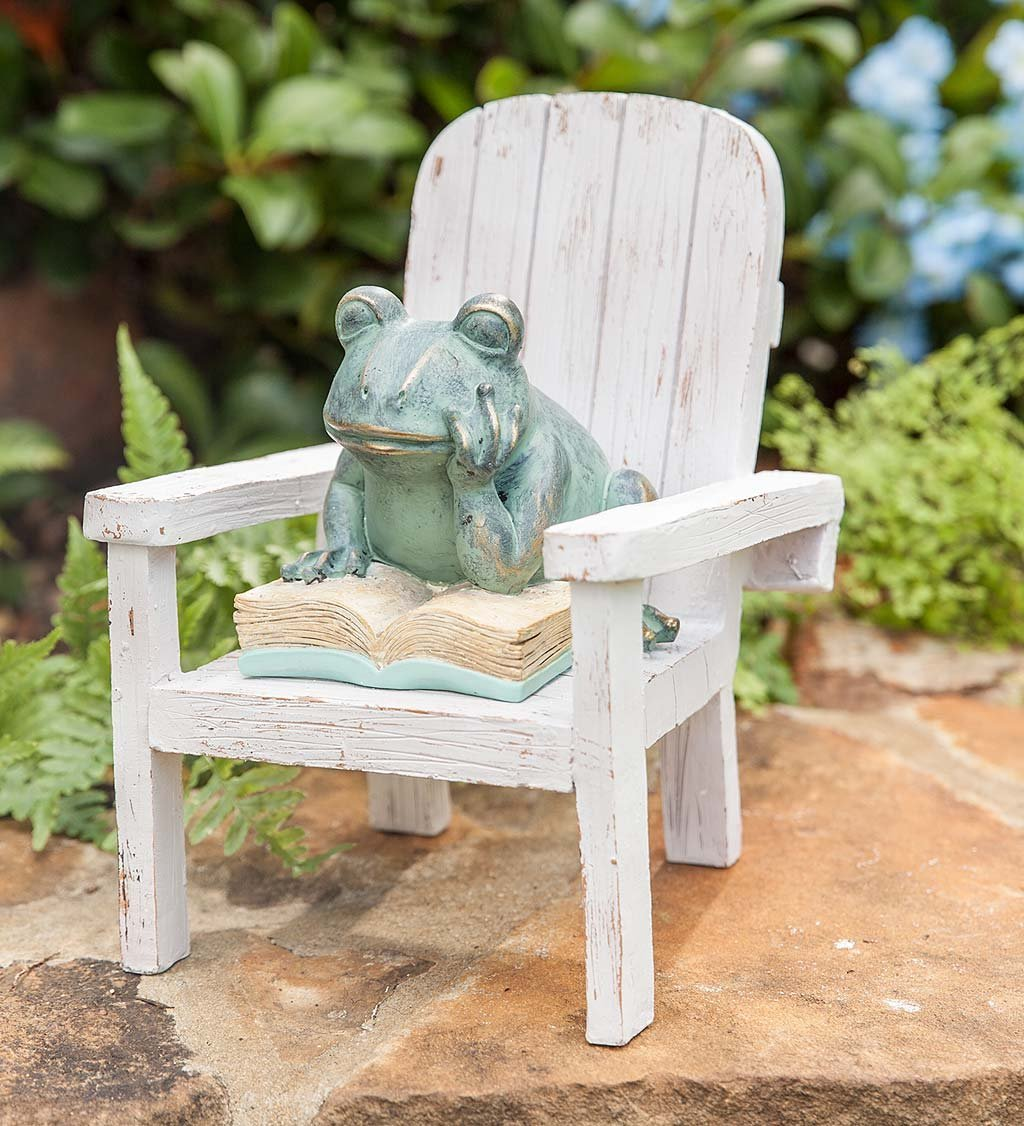 Plow & Hearth Reading Frog Outdoor Garden Statue, 6.5 L x 6 W x 7.75 H