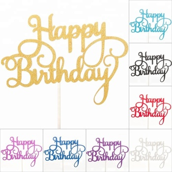 Groovy New Happy Birthday Cake Toppers Glitter Calligraphy Bling Sparkle Funny Birthday Cards Online Fluifree Goldxyz