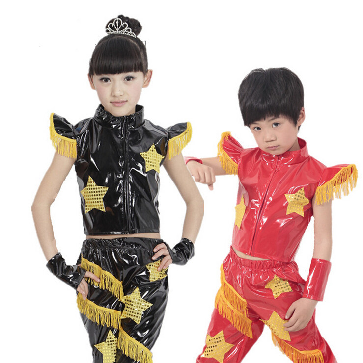 dc84c4df0 Get Quotations · 2015 new boy child star patent leather jazz hip-hop dance  clothes girls sporty fringed