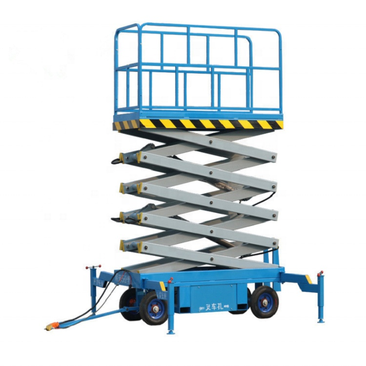แบตเตอรี่มือถือ powered self propelled scissor lift electric hydraulic scissor lift