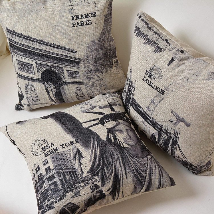 Customize geometric stripes Pillow Cover Paris fashion Decorative Pillow covers Scandinavian modern Home Decoration Pillowcase