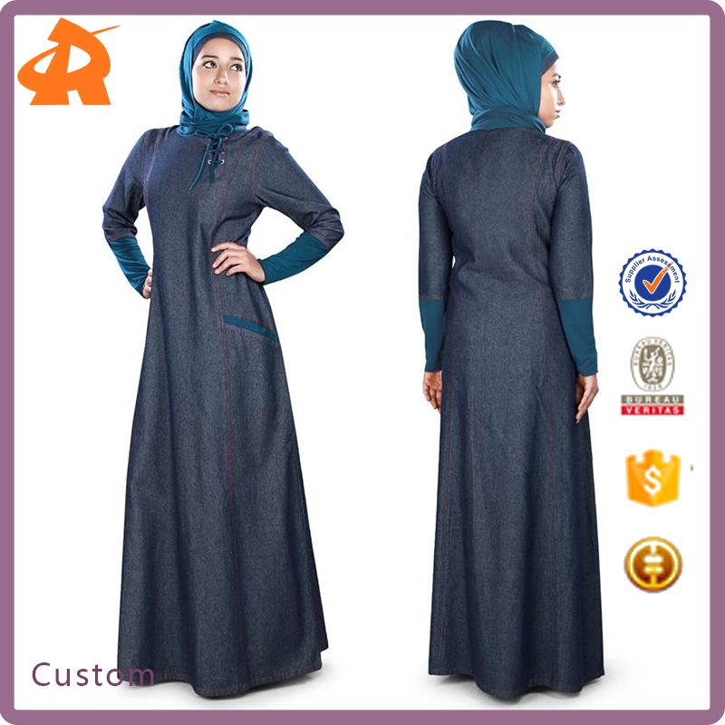 Guangzhou Wholesales Muslim Clothing Simple Zipped Dubai Denim Abaya Dress