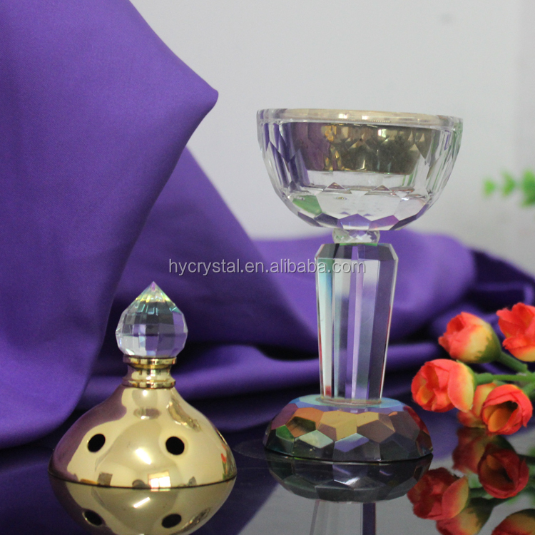 2018 hot sales Crystal Glass Incense Burner With Metal Pot Censer