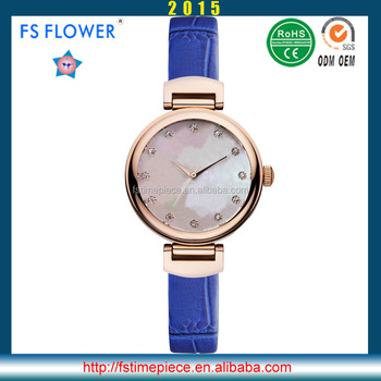 Fs Flower Good Quality Alloy Watch 3 Bar Water Resistant Stainless Steel Back Quartz Movement